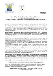 Le Â« Prix junior de l'immobilier 2010 - Fondation Palladio