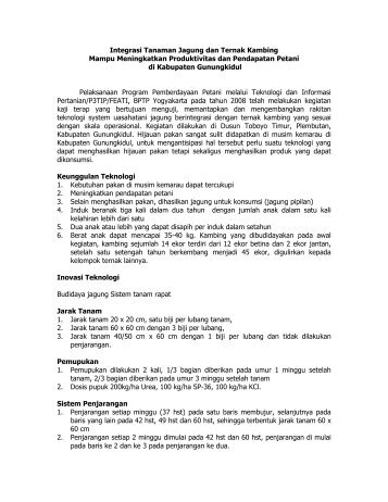 Integrasi Tanaman Jagung dan Ternak Kambing ... - BPTP Yogyakarta