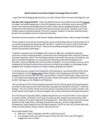 World Economic Forum Names Shopkick Technology Pioneer for ...