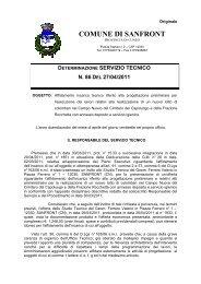determinazione servizio tecnico n. 86 del 27/04/2011 - Comune di ...