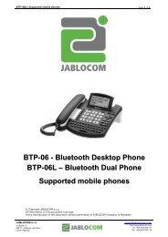 Bluetooth Desktop Phone BTP-06L – Bluetooth Dual ... - Jablocom