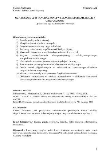 Chemia Analityczna Ćwiczenie A12 Katedra i Zakład Chemii ...
