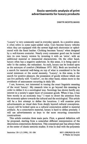 Socio-semiotic analysis of print advertisements for luxury ... - CELLO