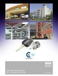 ASSA High Security Locks 2011 Canadian Price Book - Assa Abloy