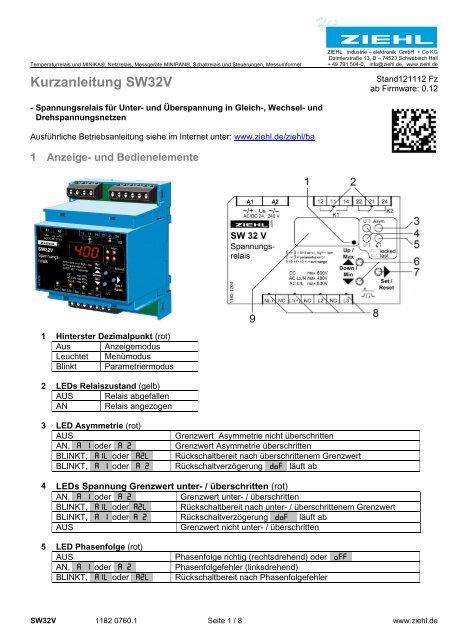 Kurzanleitung SW32V - Ziehl industrie-elektronik GmbH + Co KG