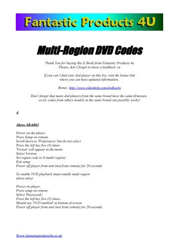 6 to access the dvd regi multi region dvd codes fantastic products 4u fandeluxe Gallery