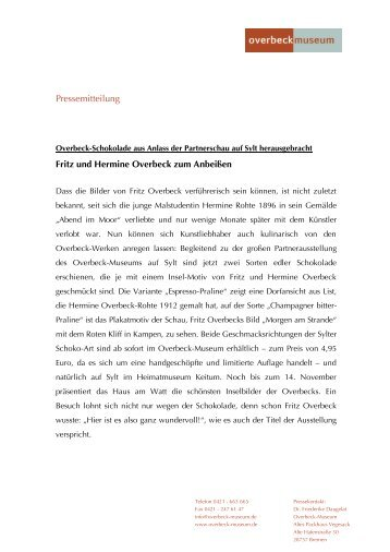 Pressemitteilung Fritz und Hermine Overbeck zum Anbeißen