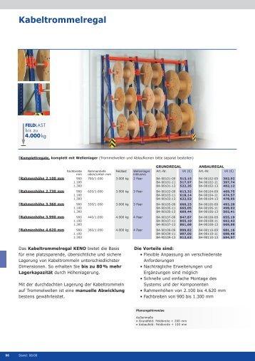 Datenblattdownload Kabeltrommelregale KENO - assistYourwork