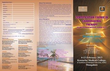 4-13 February 2013 Kasturba Medical College - The Upledger Institute
