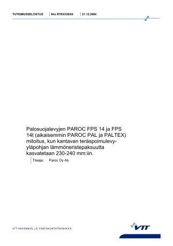 Palosuojalevyjen PAROC FPS 14 ja FPS 14t ... - Paroc.com