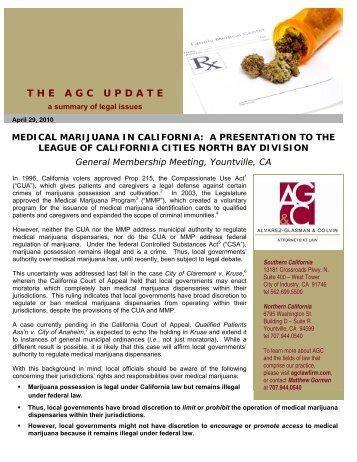 Update on California Medical Marijuana Law - April 29, 2010