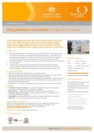 Doing Business in Australia   10 May 2013   London - Associazione ...