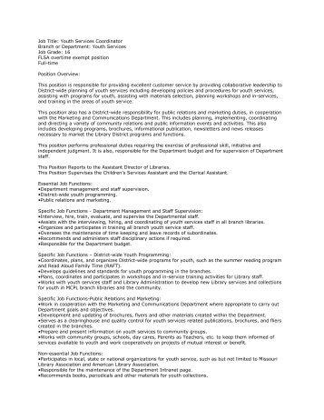 Youth Services Coordinator Job Description   Gossage Sager .