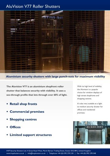 AluVision V77 Roller Shutters - HVP Security Shutters