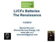 Li/CFx Batteries The Renaissance - Shmuel De-Leon Energy