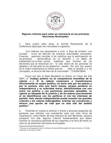 Texto completo de la declaración del Obispo de San Bernardo