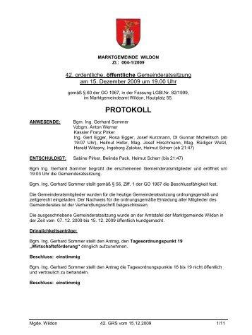 Protokoll 42. GRS vom 15.12.2009 - Wildon