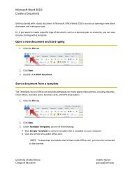 Microsoft Word 2010: Create a Document Open a new document ...