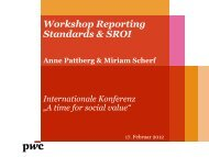 Workshop Reporting Standards & SROI - IQ Consult