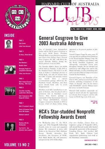 June 2003 - Harvard Club of Australia