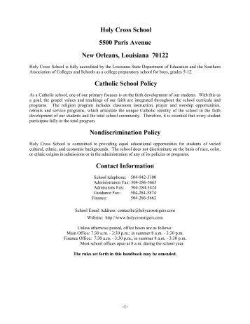 2013-2014 Handbook - Holy Cross School