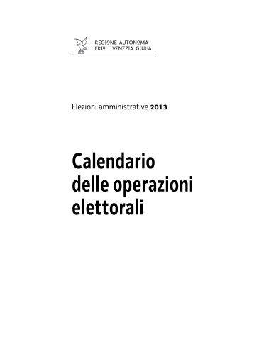 Calendario delle operazioni elettorali - Sistema delle autonomie locali