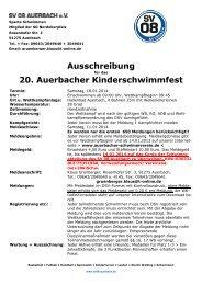 Ausschreibung 20. Auerbacher Kinderschwimmfest - SV 08 Auerbach