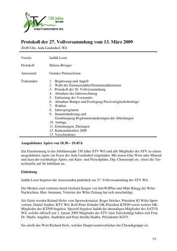 Protokoll der 27. Vollversammlung vom 13. März 2009