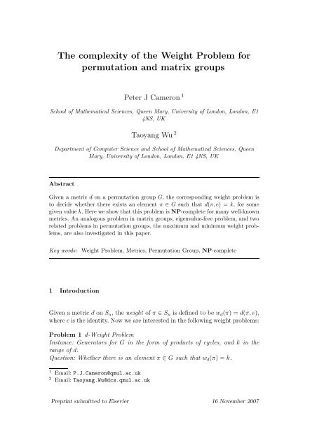 The complexity of the Weight Problem for permutation and
