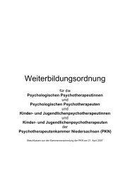 Weiterbildungsordnung - Psychotherapeutenkammer Niedersachsen