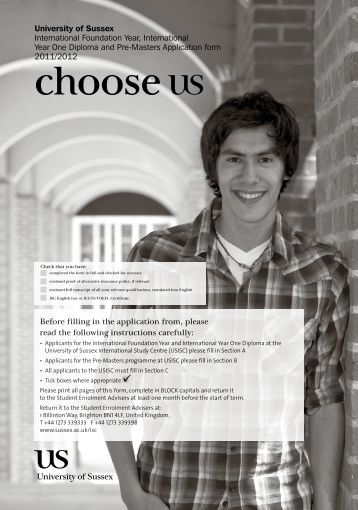 Download the application form - University of Sussex International ...