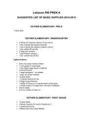 OGS School Supplies List - USD 322