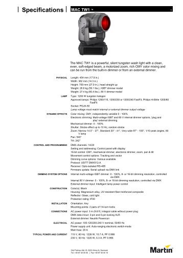 MAC TW1 specification - Shoreview Distribution