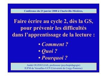 Faire écrire au cycle 2, dès la GS, pour prévenir ... - Sylvie Castaing