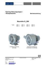 Kompressoren Betriebsanleitung Baureihe G_200 - Fafco AG