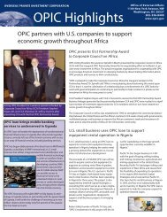 OPIC Highlights - Overseas Private Investment Corporation