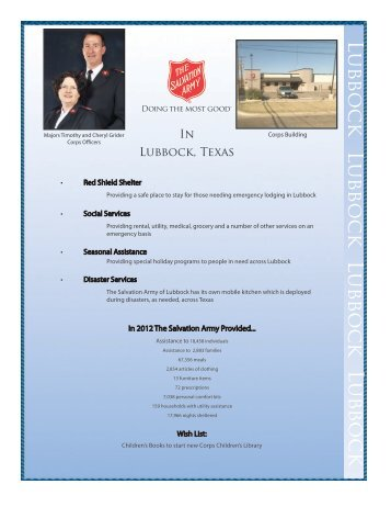 about Lubbock. - Salvation Army