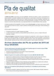 Pla de qualitat 2010-2012 - Grup Sagessa