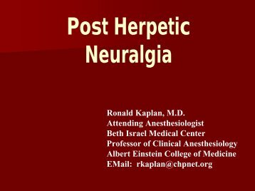 Post Herpetic Neuralgia - Department of Pain Medicine and ...
