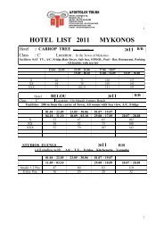 HOTEL LIST 2011 MYKONOS