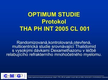 OPTIMUM STUDIE Protokol THA PH INT 2005 CL 001