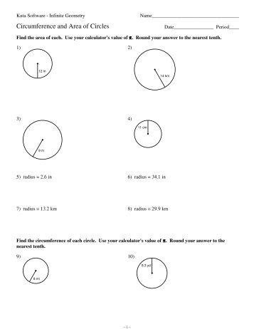 11 Circumference And Area Of Circles Kuta Software