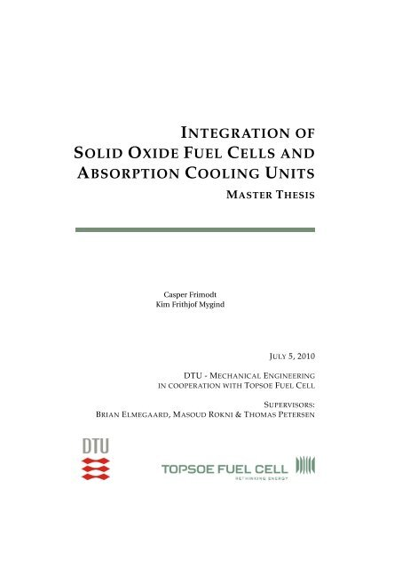 integration of solid oxide fuel cells and ... - Ea Energianalyse