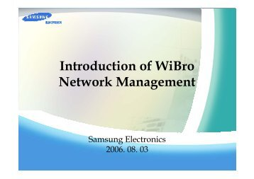 Introduction of WiBro Network Management - APNOMS