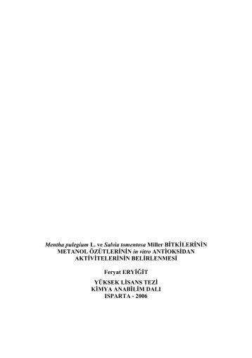 Mentha pulegium L. ve Salvia tomentosa MillerBÄ°TKÄ°LERÄ°NÄ°N ...