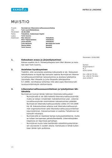 Muistio työn suunnittelupalaverista 26.8.2009 (pdf) - Ramboll