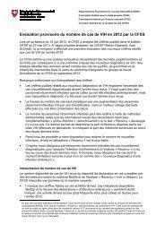 Evaluation provisoire du nombre de cas de VIH en 2012