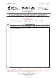 Dokument I stanowiący podstawę do oceny ofert w ramach kryterium ...