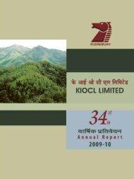 diRECTORS' REpORT - kiocl limited