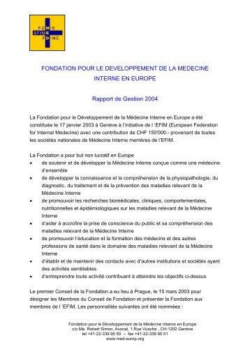 Fondation pour le Développment de la Médecine Interne en ... - FDIME